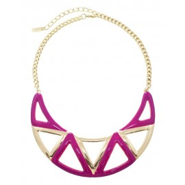 Enamel Aztec Statement Necklace With Earrings - Fuchsia