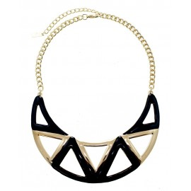 Enamel Aztec Statement Necklace With Earrings - Black
