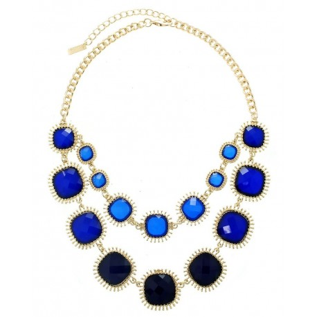 Two Layer Acrylic Stone Statement Necklace With Earrings - Blue