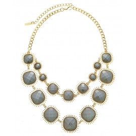 Acrylic Stone Statement Necklace With Earrings - Silver