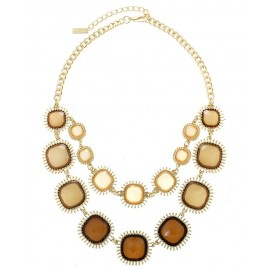 Acrylic Stone Statement Necklace With Earrings - Brown