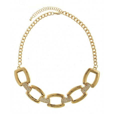 Rectangular Textured/Crystal Pave Chain Statement Necklace With Earrings- Gold