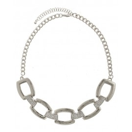 Rectangular Textured/Crystal Pave Chain Statement Necklace With Earrings- Silver