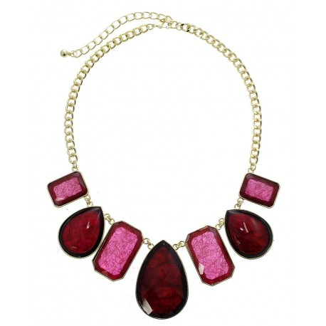 Multi Shape Stone Statement Necklace With Earrings - Gold/Fuchsia