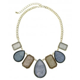 Multi Shape Stone Statement Necklace With Earrings - Gold/Gold