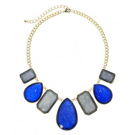 Multi Shape Stone Statement Necklace With Earrings - Gold/Saphire
