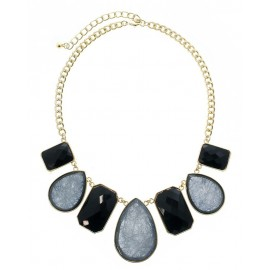 Multi Shape Stone Statement Necklace With Earrings - Gold/Black
