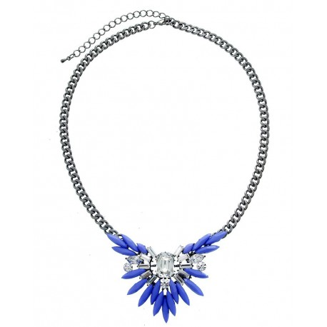Vintage Stone Pendant Necklace - Gunmetal Amethyst