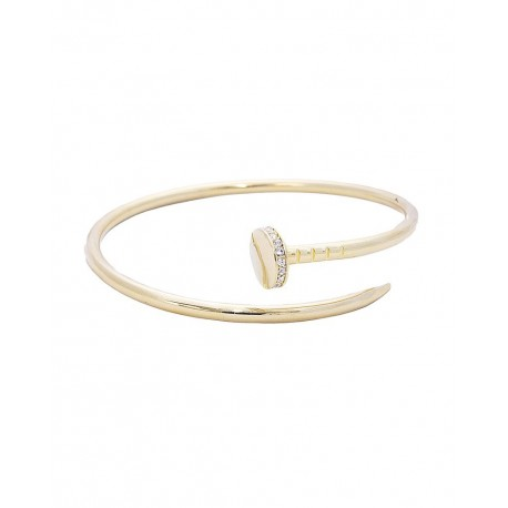 Nail Cuff With Crystal Accents Bracelet - Gold