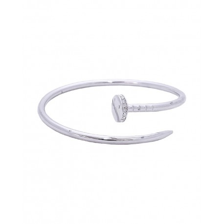 Nail Cuff With Crystal Accents Bracelet - Silver