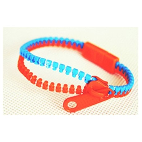Two-Tone Medium Blue and Orange Zipper Bracelet