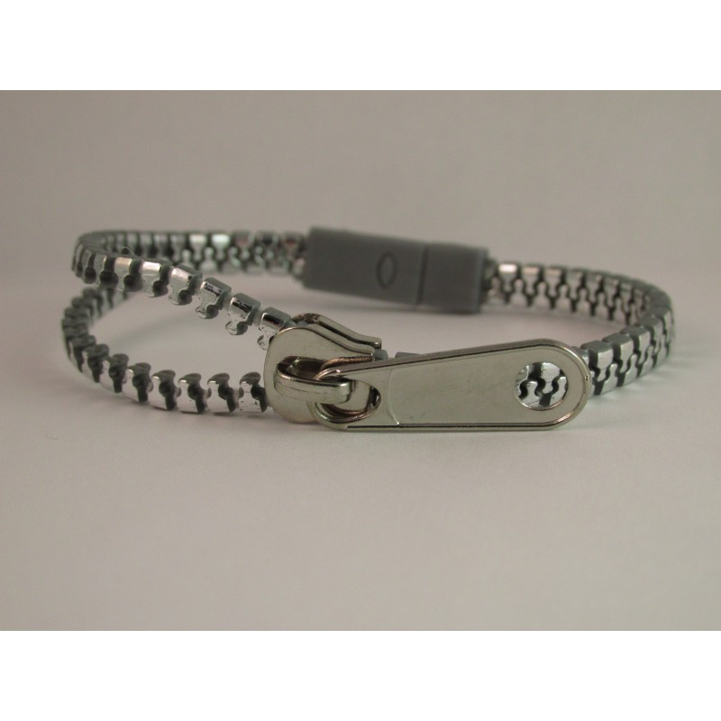 Metallic Silver Zipper Bracelet