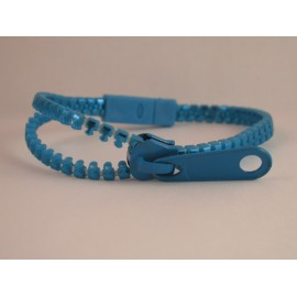 Metallic Medium Blue Zipper Bracelet