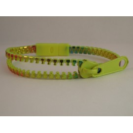 Neon Yellow Rainbow Zipper Bracelet
