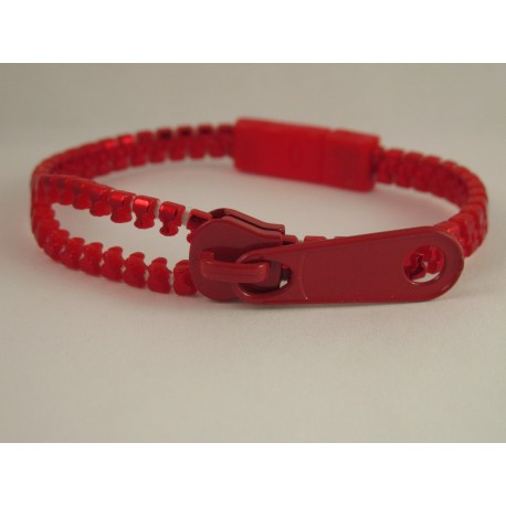 Metallic Red Zipper Bracelet