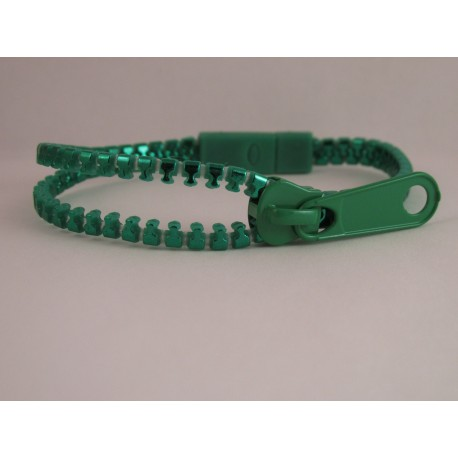 Metallic Green Zipper Bracelet