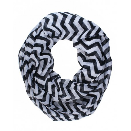 Black / White Chevron Infinity Scarf
