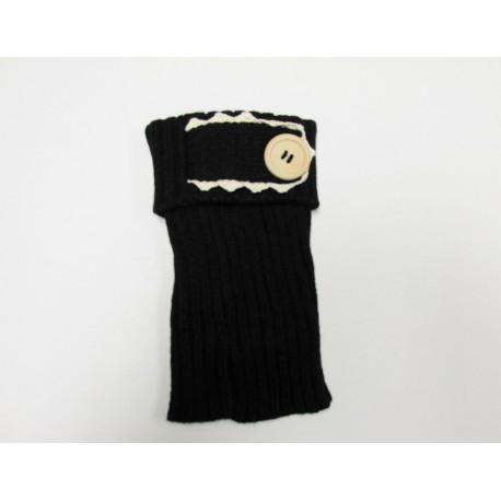 Black Single Button Boot Cuffs