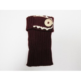Burgundy Single Button Boot Cuffs