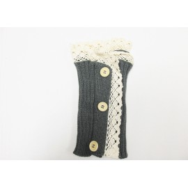 Grey Lace Trim Boot Cuffs