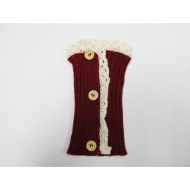 Burgundy Lace Trim Boot Cuffs