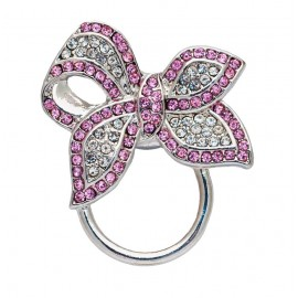 Silver and Pink Crystal Bow Eyeglass holders