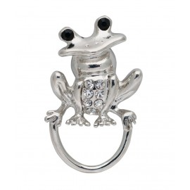 Silver Frog with Crystals Eyeglass holders